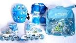 Детские раздвижные ролики с защитой Jinxin, светящиеся колеса, голубой, 28/32, 33/37