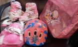 Детские раздвижные ролики с защитой Jinxin, светящиеся колеса, розовый, 28/32, 33/37