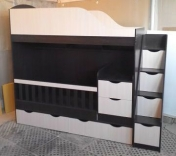 Детская двухъярусная кровать-трансформер 0,80*1,90 м, ас13, цвета в ассорт.