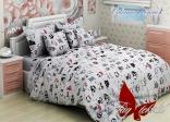 Комплект постельного белья Tag Совята серый 150х220