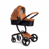Детская коляска 2 в 1 Nino's A88 marron эко кожа