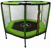 Батут Atleto 140 см шестиугольный с сеткой зеленый